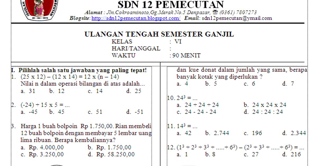 Ulangan Tengah Semester Uts Matematika Sd Kelas 6 Silabus Rpp Sd Smp Sma