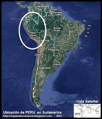 Ubicación de PERU en Sudamérica, Vista Satelital