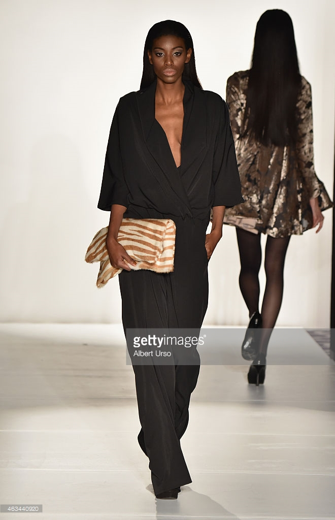 Ese Azenabor best designs, Ese Azenabor f/w 15 collections, best designer New York fashion Week, NYFW 2015 reviews, fall and winter 2015 trends, black designer pantsuit, Andrea Mitchell zebra clutch, Mitchell handbags, best looks Mercedes Benz fashion week New York
