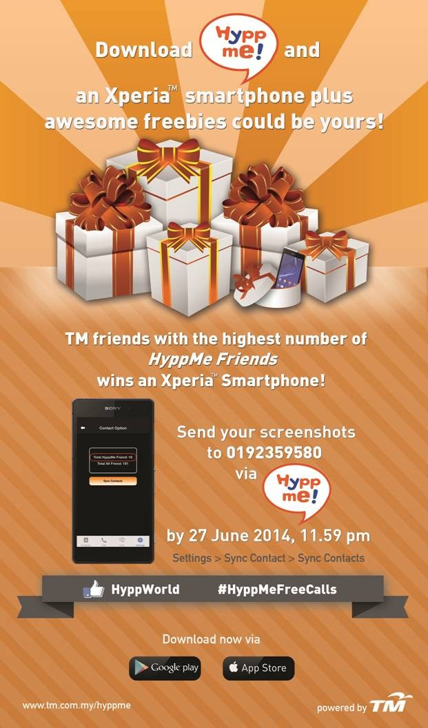 Send Screenshots Of The Number of Your 'HyppMe' Now For A Chance To Win an Xperia Smartphone!