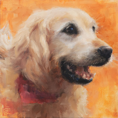 Golden retriever painting, oil on canvas, ©Shannon Reynolds 2016