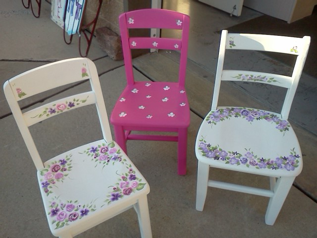 Vintage Painted Childrens Chairs