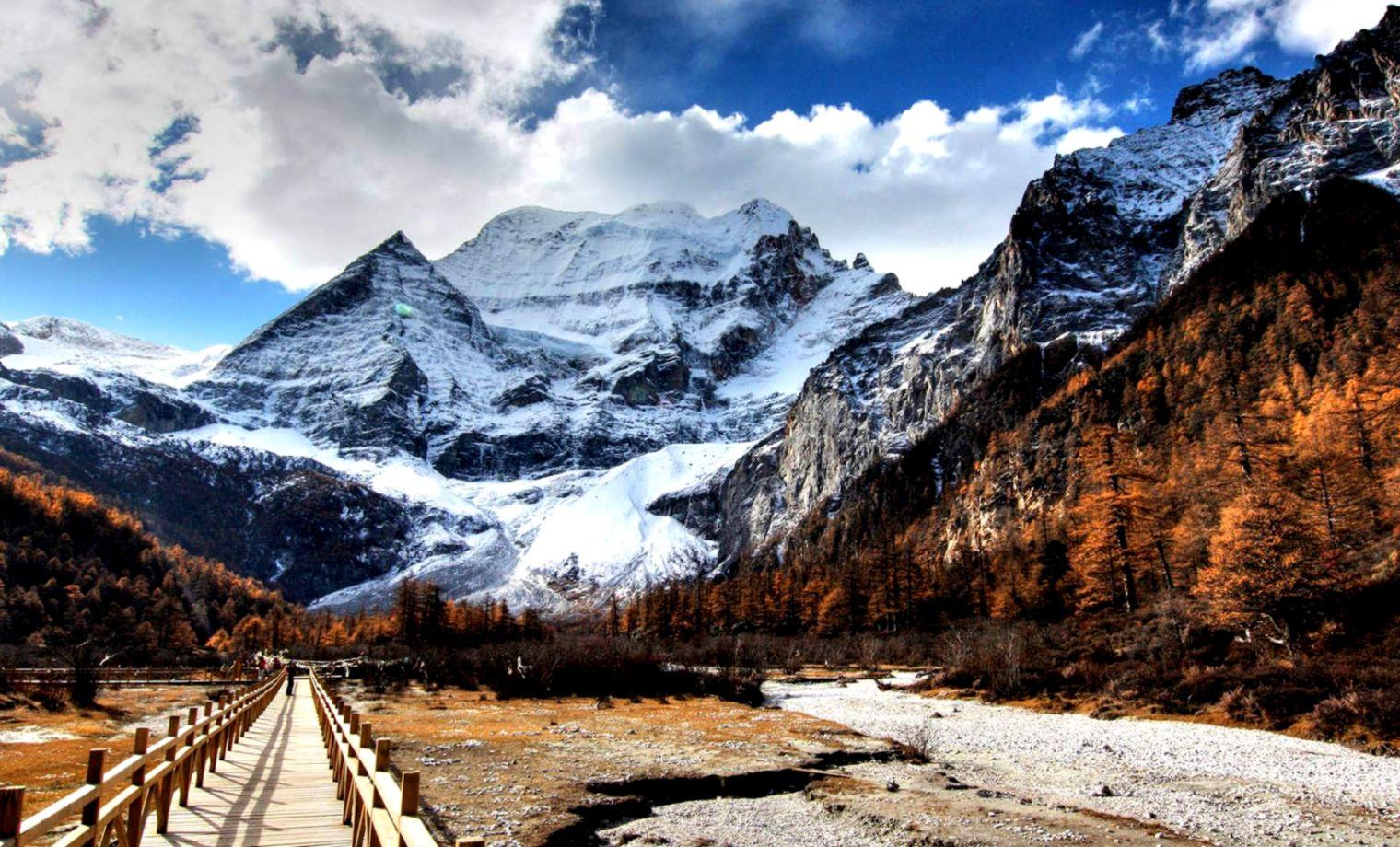 View Original Size Snowy Mountains HD Desktop Wallpaper Widescreen High