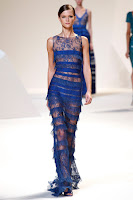 дантелена рокля с ресни в коболтово синьо Elie Saab