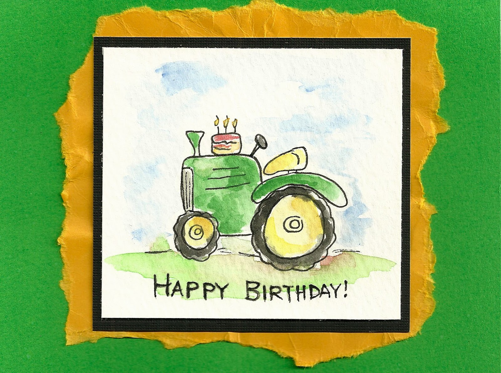 For Marks Birthday Card I Created This Playful Watercolor Of A Tractor With Cake On Top Overall Think The Is Lot Fun Featuring John Deere