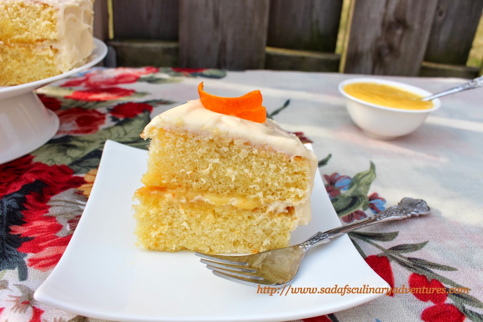 Orange Chiffon Cake with Orange Curd Filling and Orange Cream Cheese Frosting