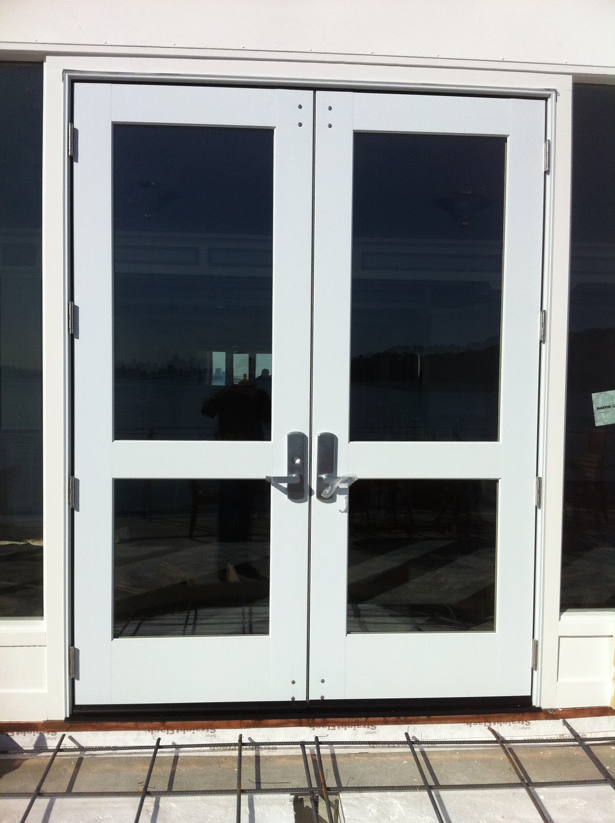 Marvin commercial door installation with von duprin hardware for Commercial exterior doors