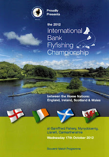 Match programme from the 2012 International Bank Fly Fishing Championships at Garnfrwydd fishery