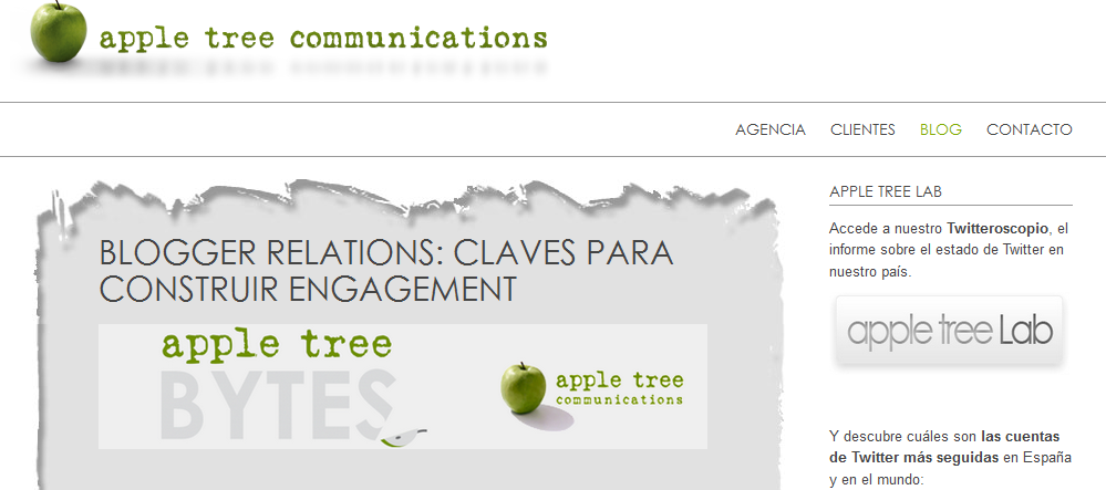 Imagen del Blog de la agencia Apple Tree Communications: http://www.appletreecommunications.com/es/blog