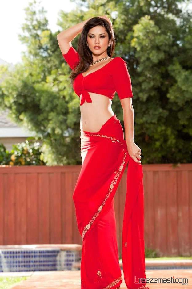 Labels Sunny In Red Saree