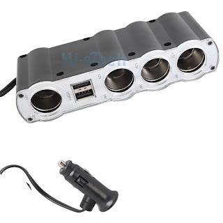 2 way 12 24V IN Car USB + 4 SOCKET Cigarette Lighter for Cellphone GPS iPod HK