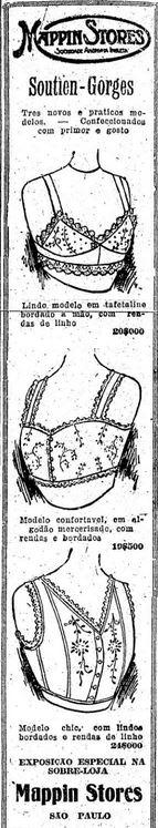 Propagandas antigas de roupas íntimas da Mappin Stores em 1918.