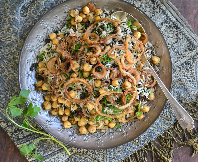 Basmati and Wild Rice with Chickpeas, Currents and Herbs (vegan and gluten free)