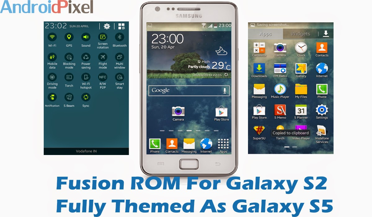 Fusion ROM v1.1 4.4.2 KitKat Galaxy S5 Themed For Samsung Galaxy S2 GT-I9100