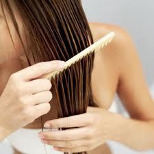 menyisir rambut basah