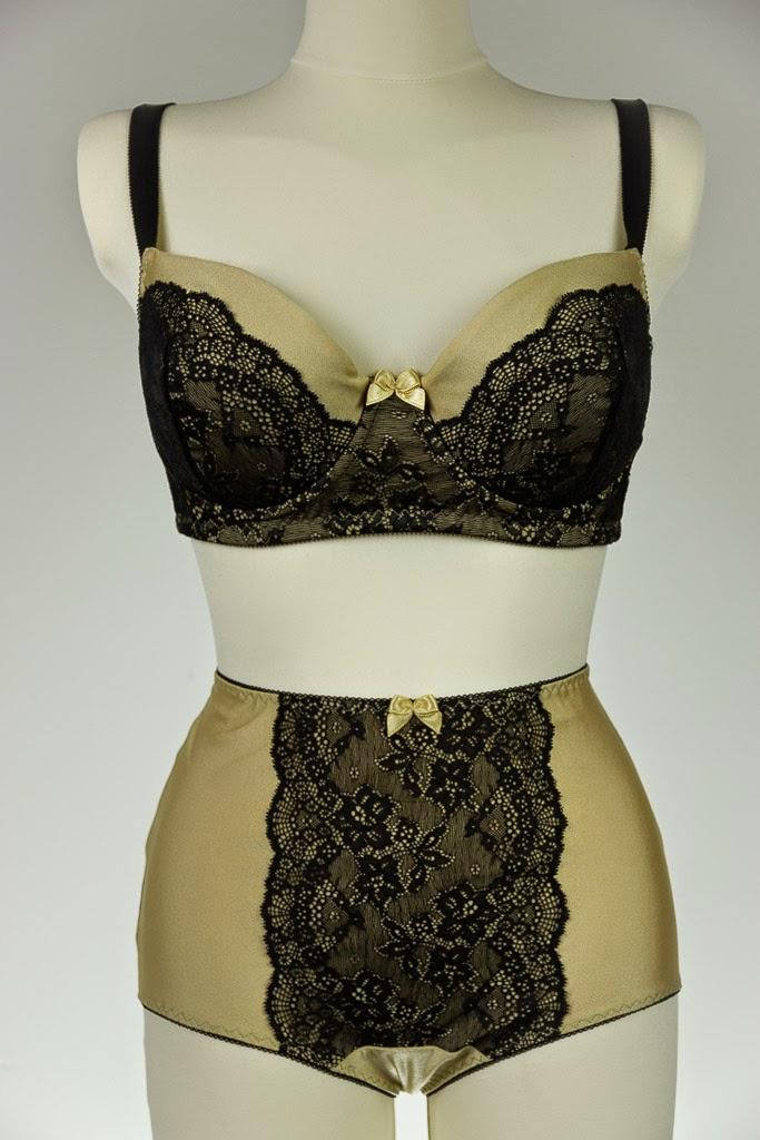Glamorous Beige and Black Lace Lingerie Set