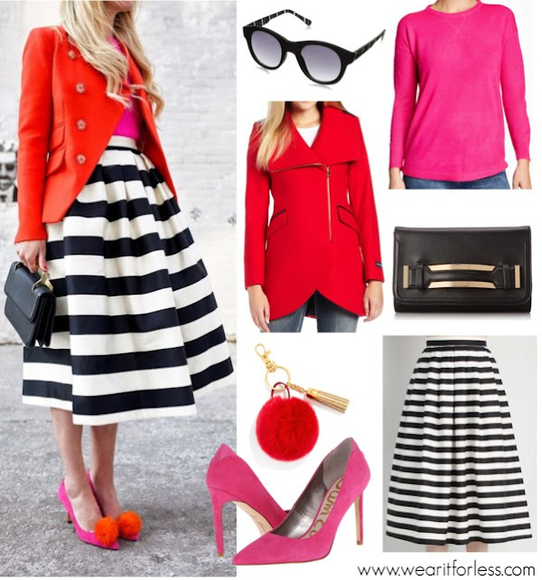 ModCloth Striped Skirt $42 (regular $60) similar in a shorter version (50% off!) // French Connection Blazer $91 (regular $455) // Sweet Romeo Sweater $15 (regular $58) // Sam Edelman Suede Pumps $45 (regular $110) // Aldo Clutch $33 (regular $45) see her exact bag here // BaubleBar Pom Keychain $15 (available in 4 colors) // Quay Eyewear Sunglasses $11 (regular $40)