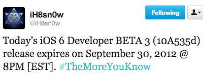 iOS 6 (10A535d) expires September 30, 2012