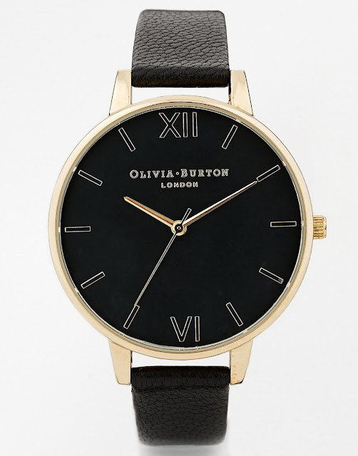 olivia burton black gold watch, olivia burton large black dial gold watch, black face large gold watch,