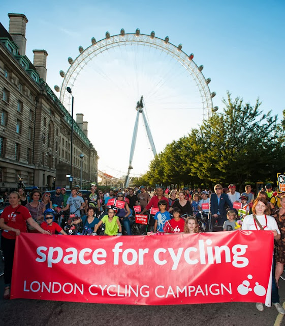 Space for Cycling Campaigners gather by the London Eye, Lambeth SE1 on lambethcyclists,org.uk