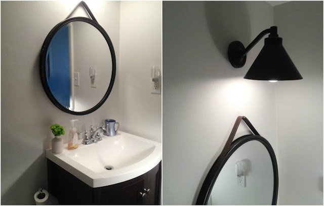 Trend I found the mirror at Home Goods and the light is actually an outdoor fixture from Lowe us Much less expensive than an interior light would be