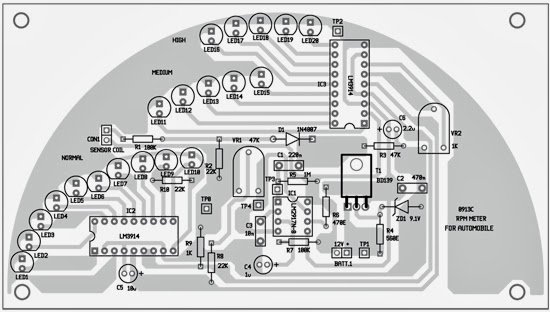 rpm meter for automobiles circuit diagram electronic circuits 3 component layout for the pcb
