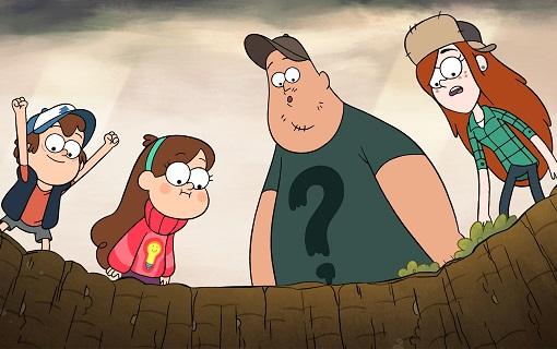 Dipper, Mabel, Soos y Wendy en Gravity Falls