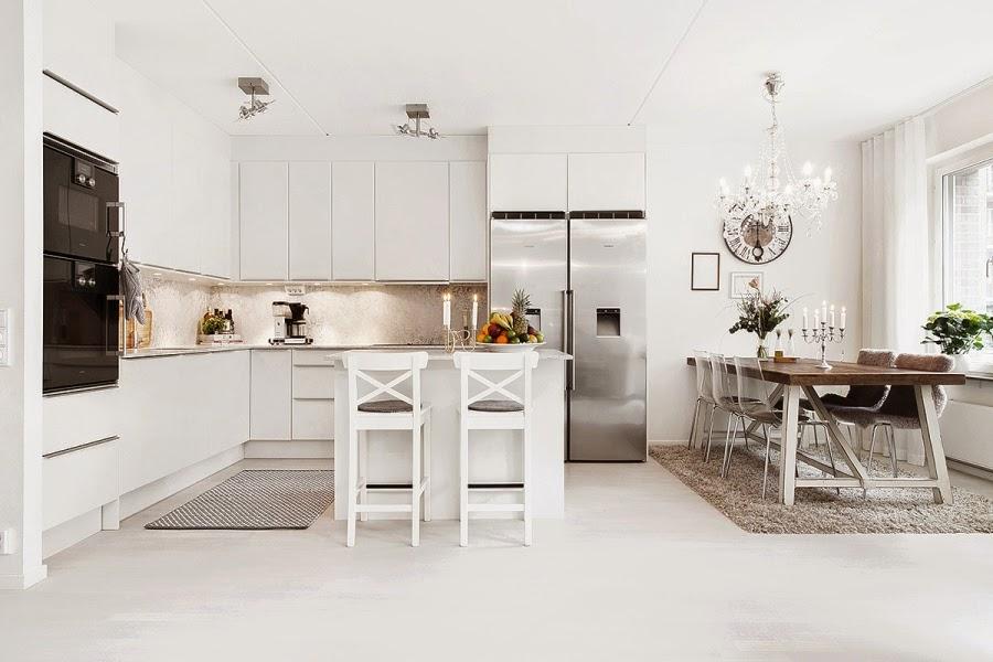 wystrój wnętrz, wnętrza, urządzanie mieszkania, dom, home decor, dekoracje, aranżacje, białe wnętrza, styl skandynawski, glamour, salon, jadalnia, kuchnia, otwarta przestrzeń
