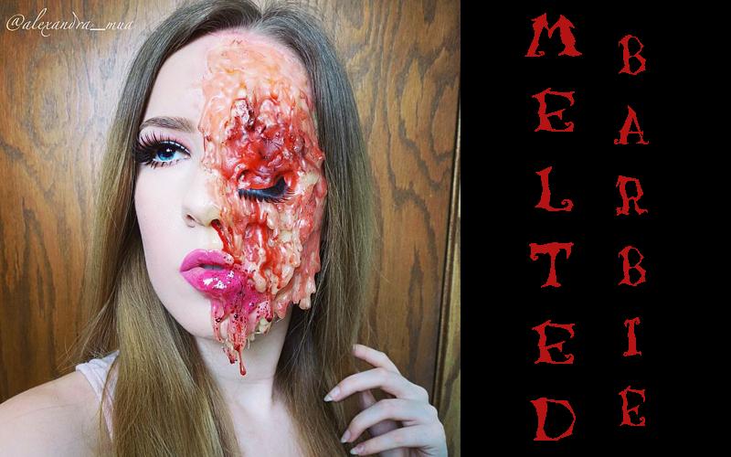 melted barbie halloween makeup idee instagram