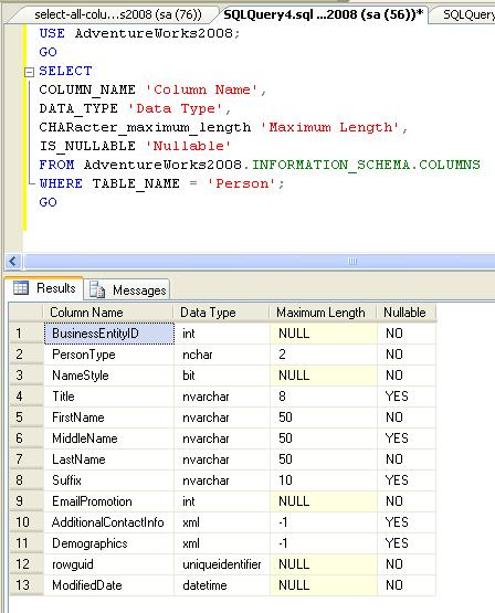 The desk sql display attributes of a table for Table attributes