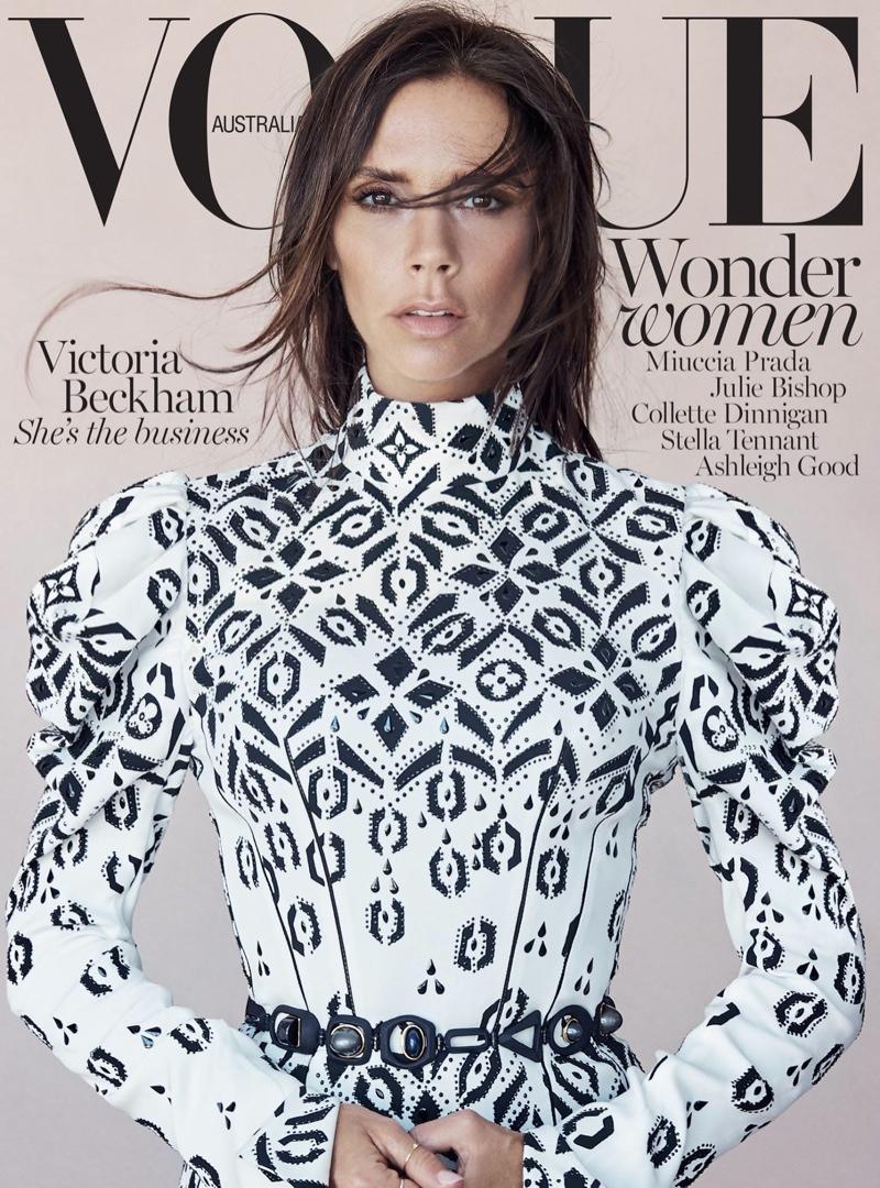 Victoria Beckham wears Louis Vuitton for the Vogue Australia August 2015 Cover