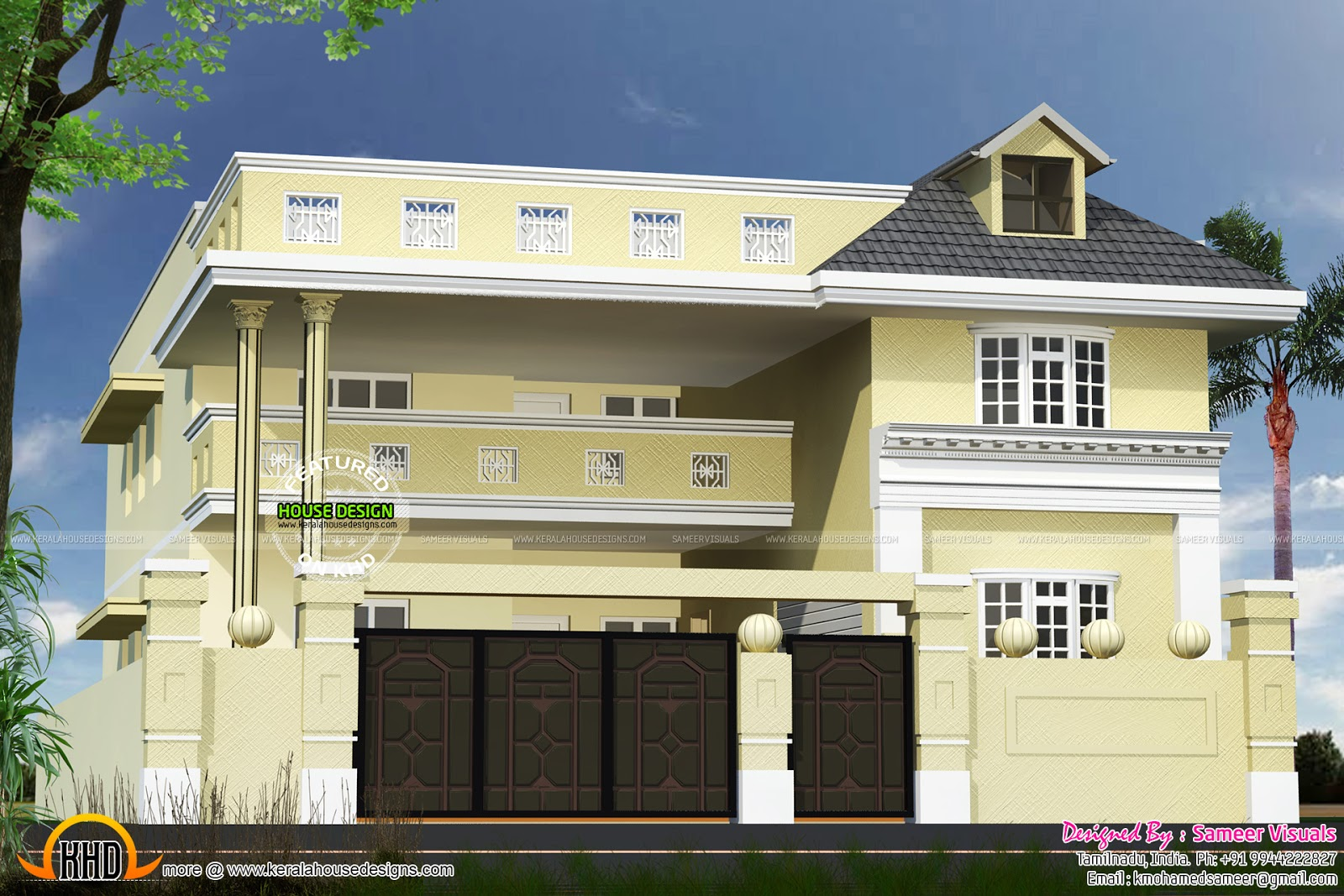 3265 sq ft tamilnadu house design kerala home design and for Tamilnadu house designs photos