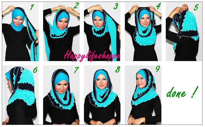 cara memakai jilbab pasmhina