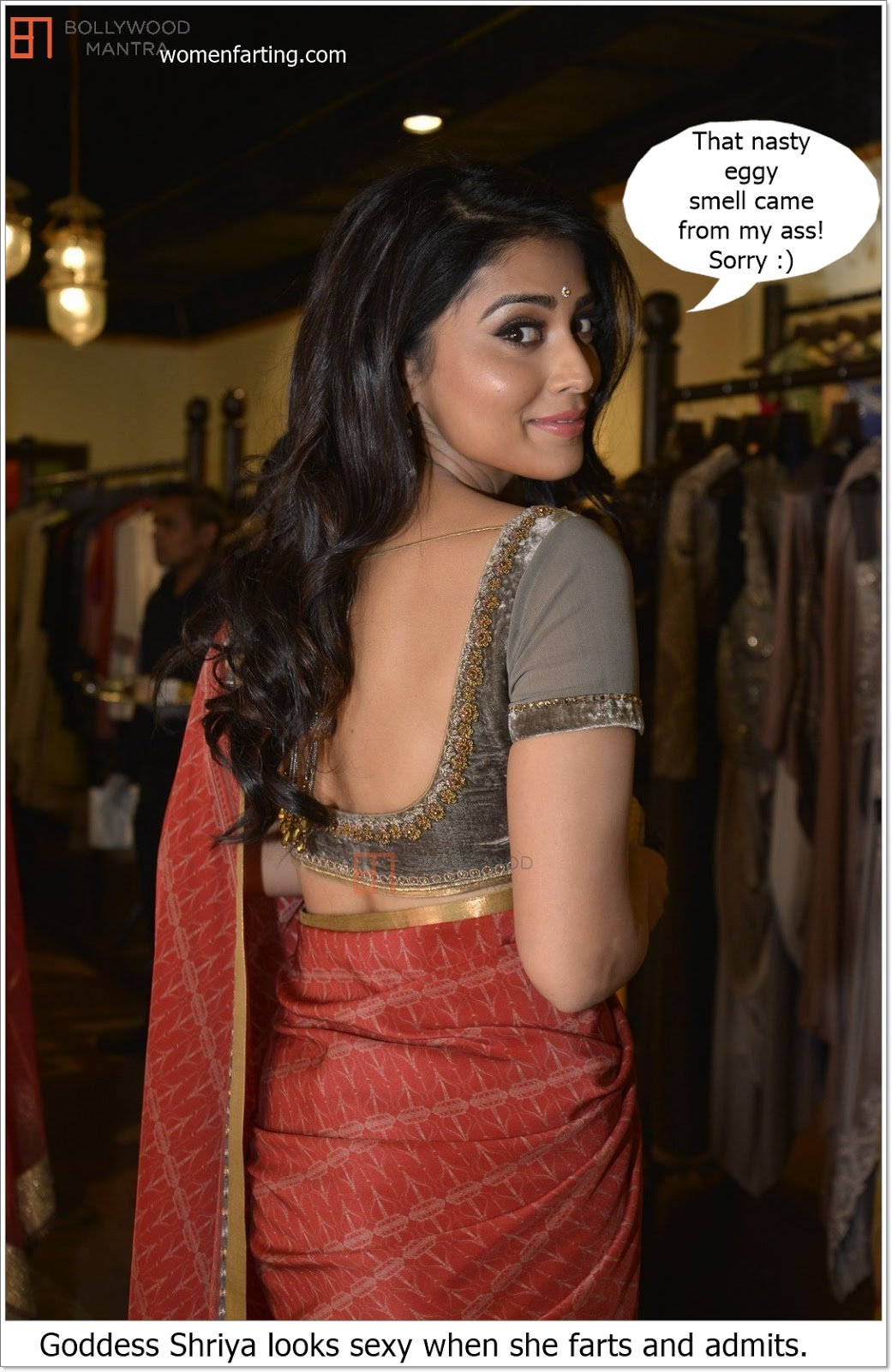 Shriya Saran – sexy ass in saree and farting expression