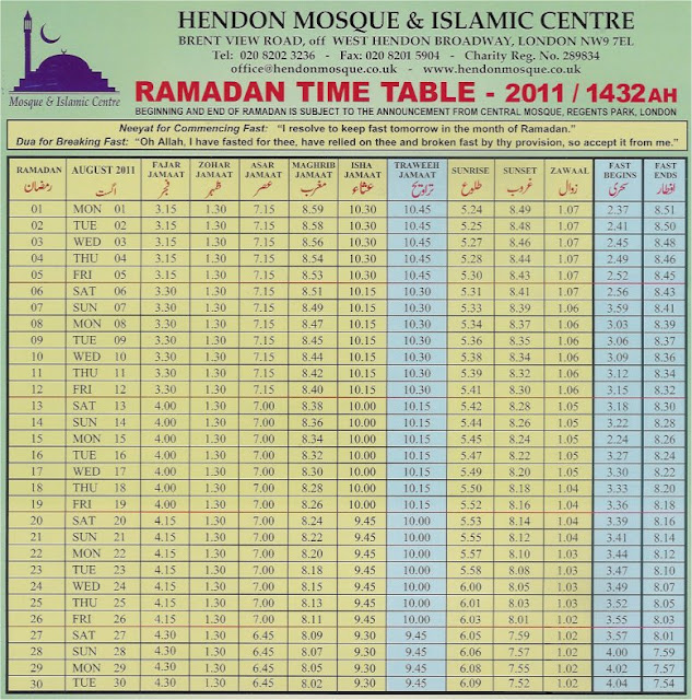 ramazan calendar 2011 ramadan timetable 2011 for london