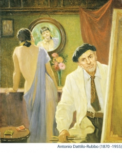 """The Artist and the Model,"" 1940 by Antonio Dattilo-Rubbo without cigarette (as edited by the Manley Council)"