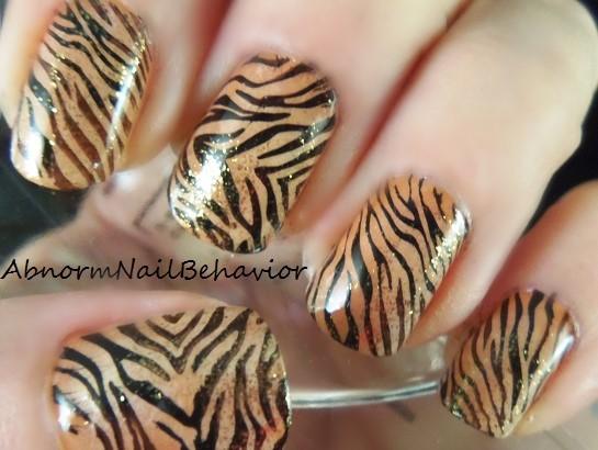 Abnorm Nail Behavior Nail Art Golden Tiger Nails