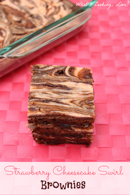 Strawberry Cheesecake Swirl Brownies at What's Cooking, Love?
