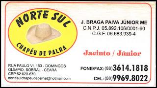 NORTE SUL CHAPÉU DE PALHA FAX:(88)3614-1818 CEL:(88)9969-8022