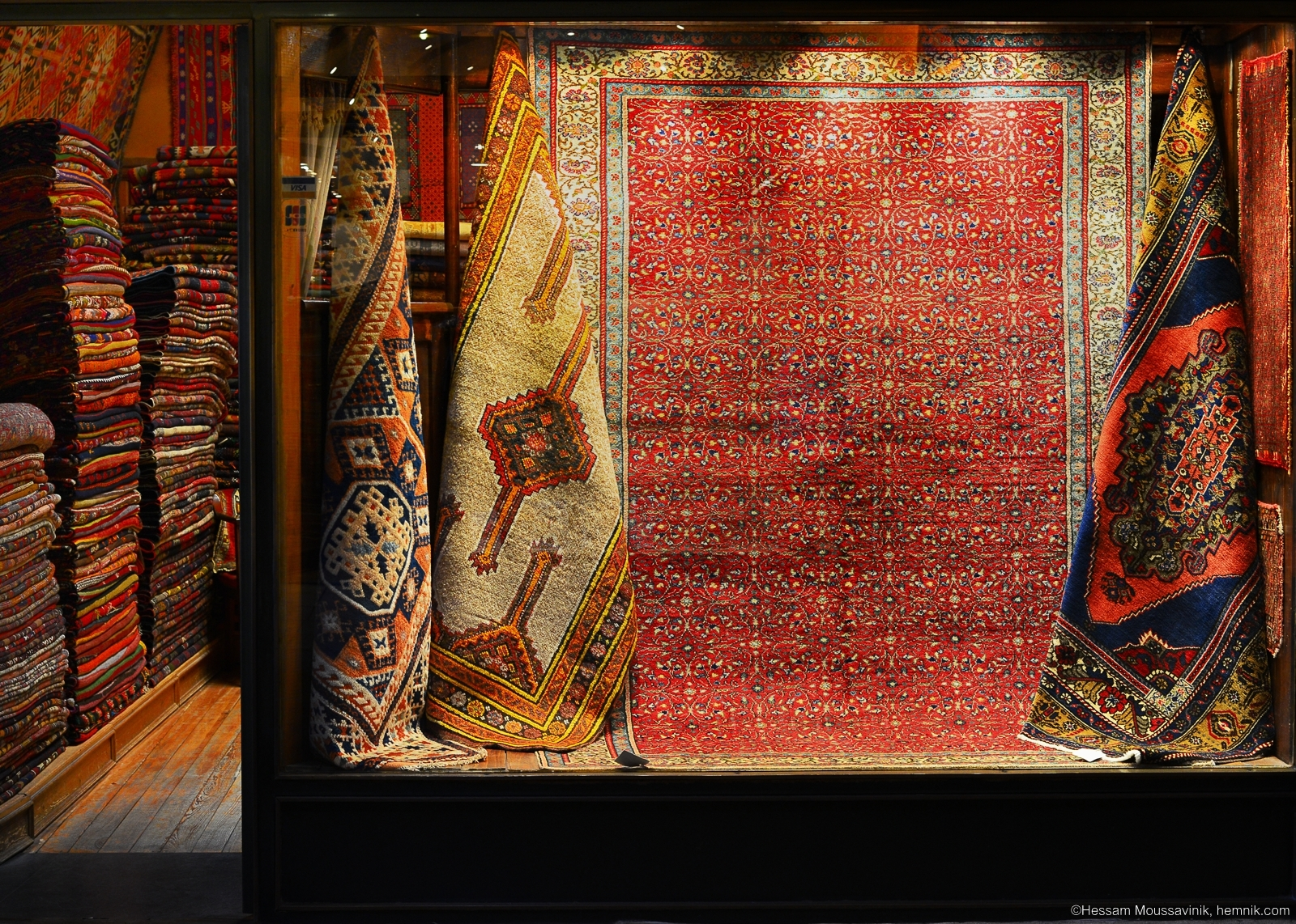 Photo of a carpet shop window in Grand bazaar of Istanbul