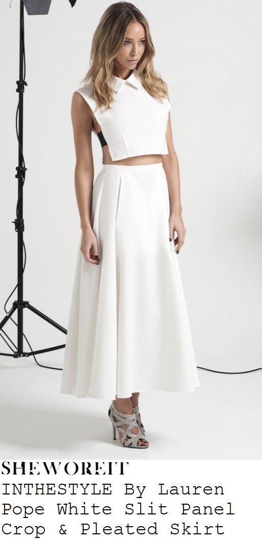 lauren-pope-white-sleeveless-collared-split-side-croptop-and-pleated-midi-skirt-co-ords