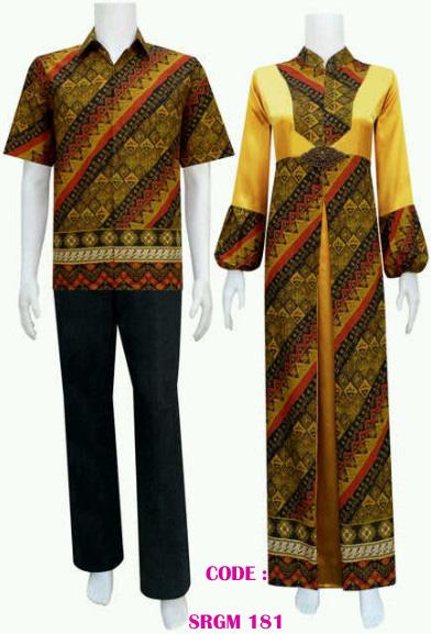 Batiksarimbitku Gamis Batik Pasangan Model Belah Tengah