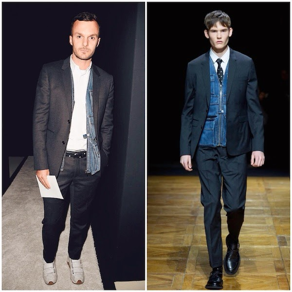 Kris Van Assche wears Dior Homme Fall Winter 2014 denim multi pocket vest to Balmain womenswear Spring Summer 2015
