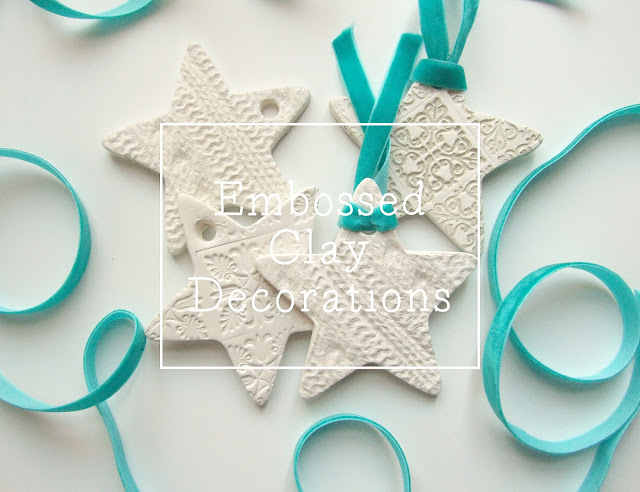 Embossed clay star decorations made from air drying clay