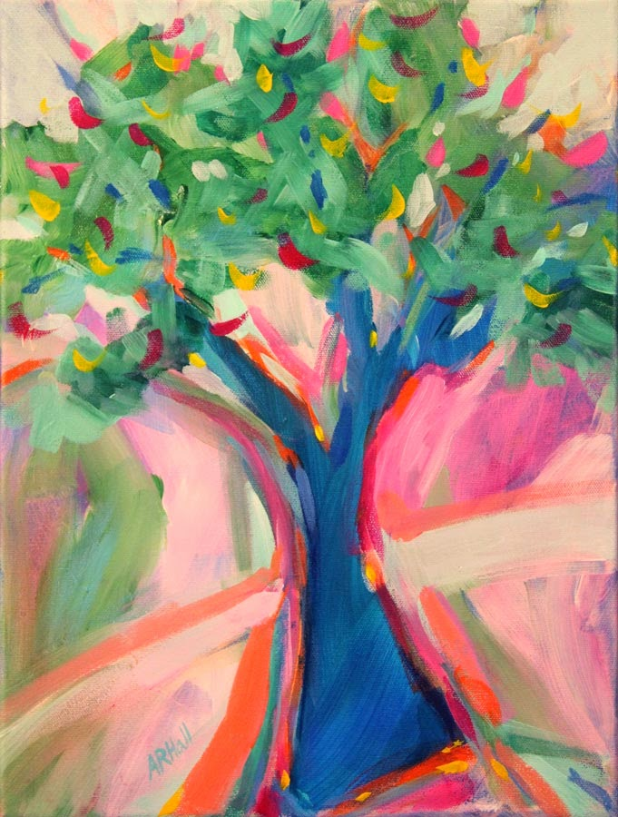"Tree of Knowledge ©Annette Ragone Hall. Acrylic on canvas. 20"" x 16"""