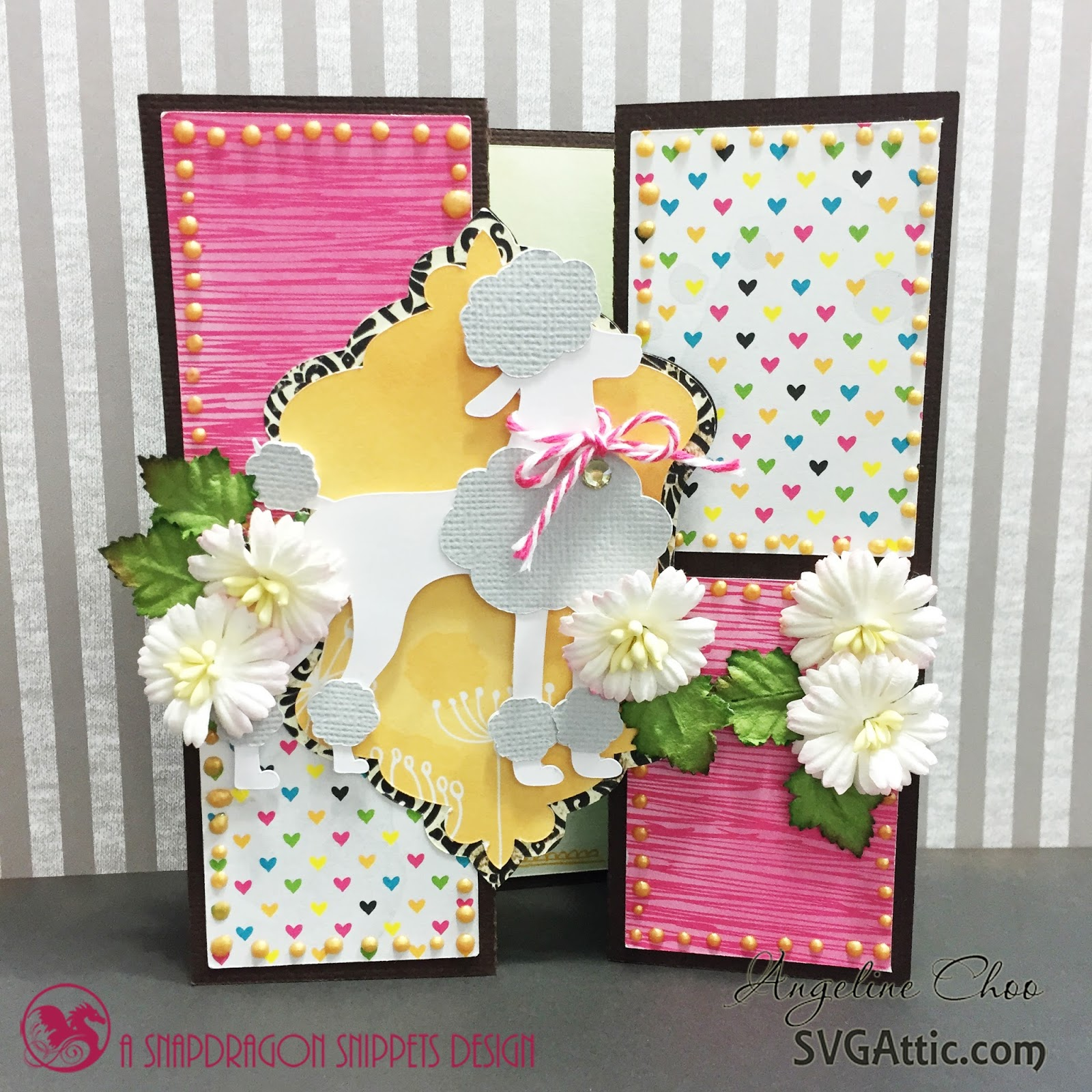 ScrappyScrappy: French Poodle card #svgattic #scrappyscrappy #card #bifold