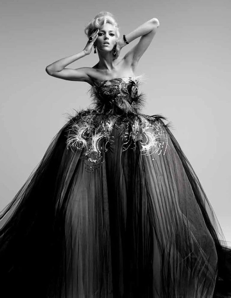 Anja Rubik Wears Dior Couture For Vogue Japan May 2012