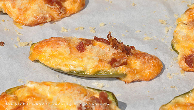 Simple Farmstead Cooking: Baked Stuffed Jalapeno's