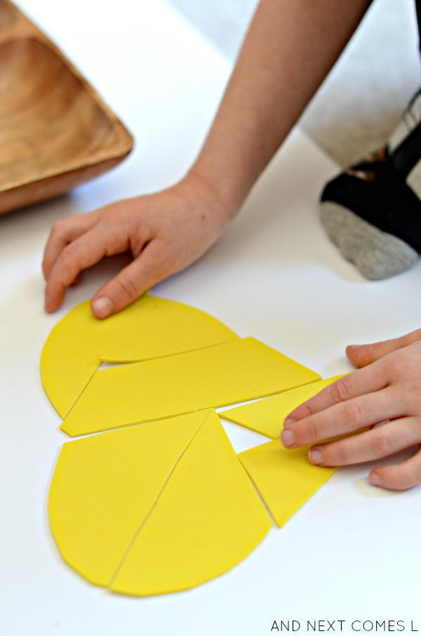 Building foam heart tangram puzzles from And Next Comes L