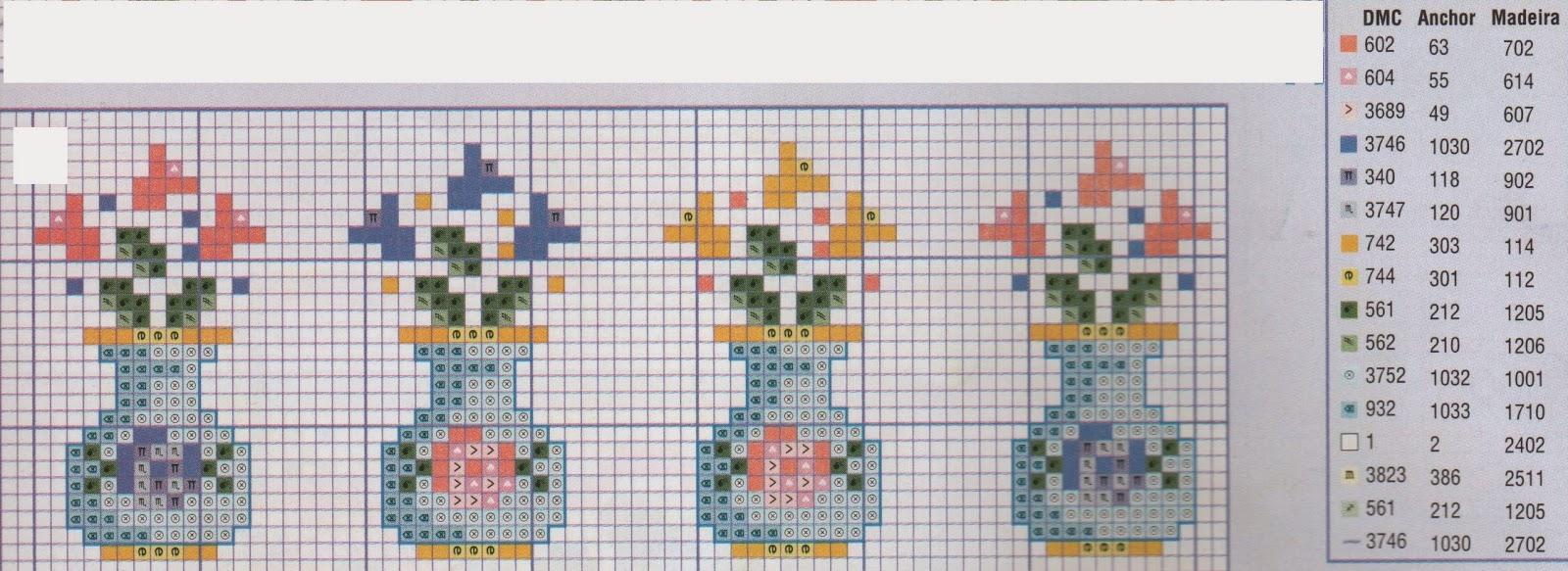Cenefas flores en punto de cruz gratis punto de cruz - Cenefas punto de cruz para toallas de bano ...